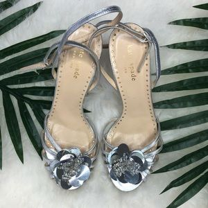 Kate Spade silver heels with mirror sequin flower